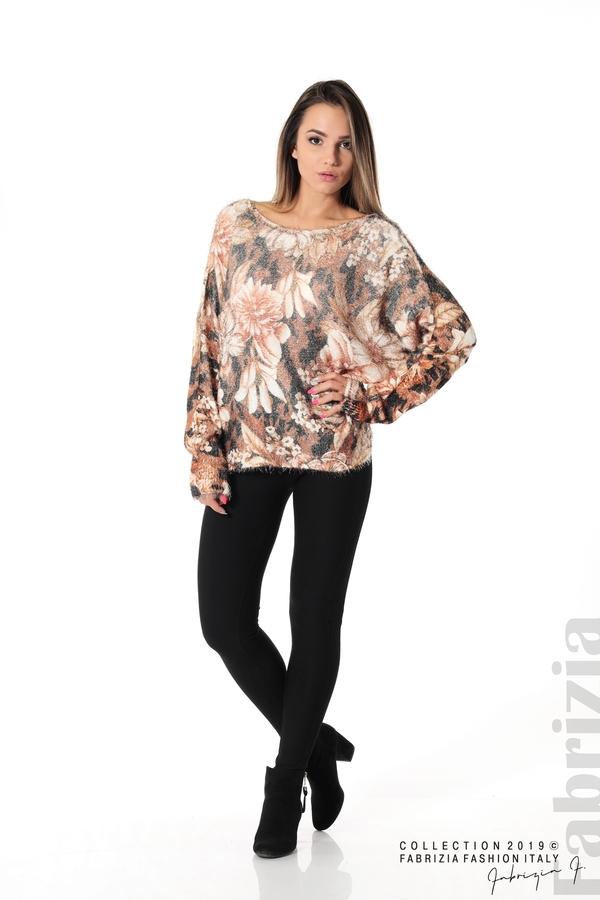 Дамска блуза на цветя кафяв 2 fabrizia