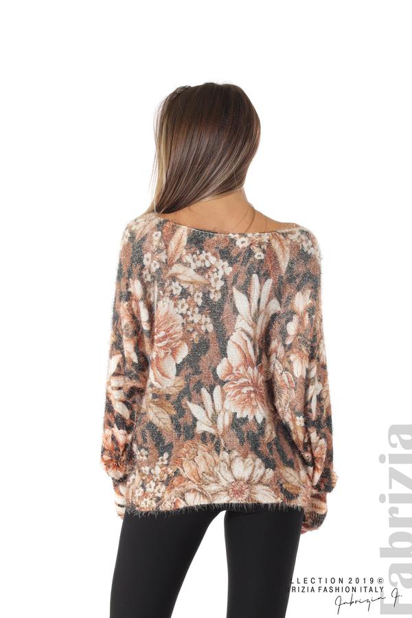 Дамска блуза на цветя кафяв 3 fabrizia