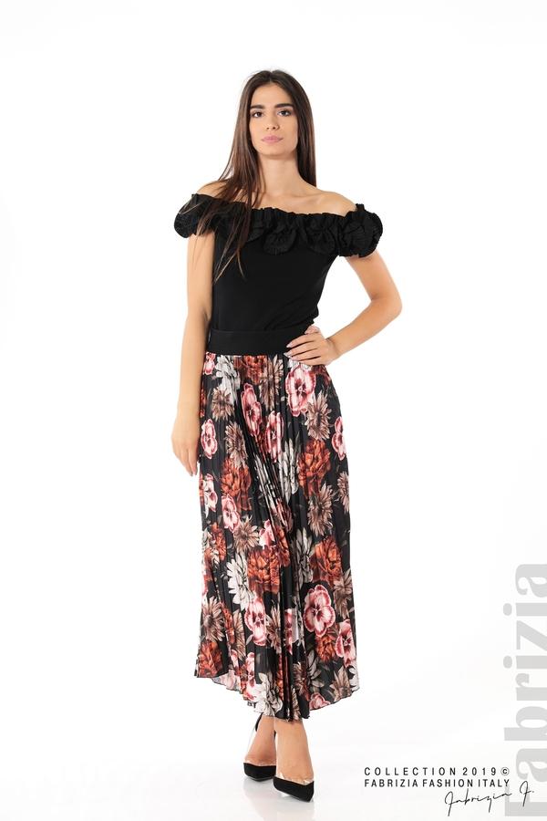 Дамска пола с десен на цветя черен 1 fabrizia
