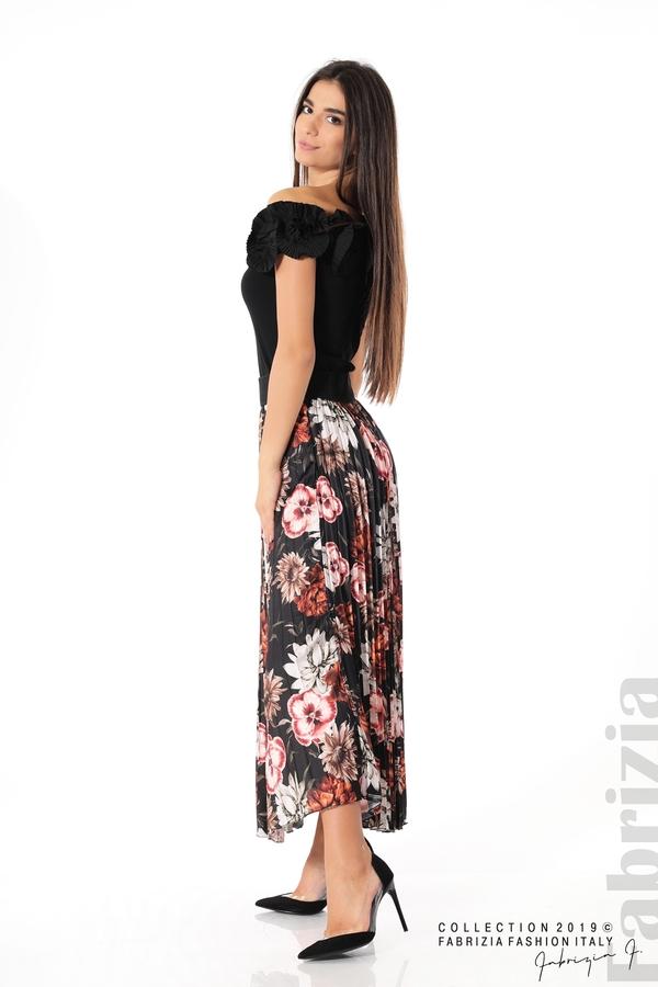 Дамска пола с десен на цветя черен 3 fabrizia