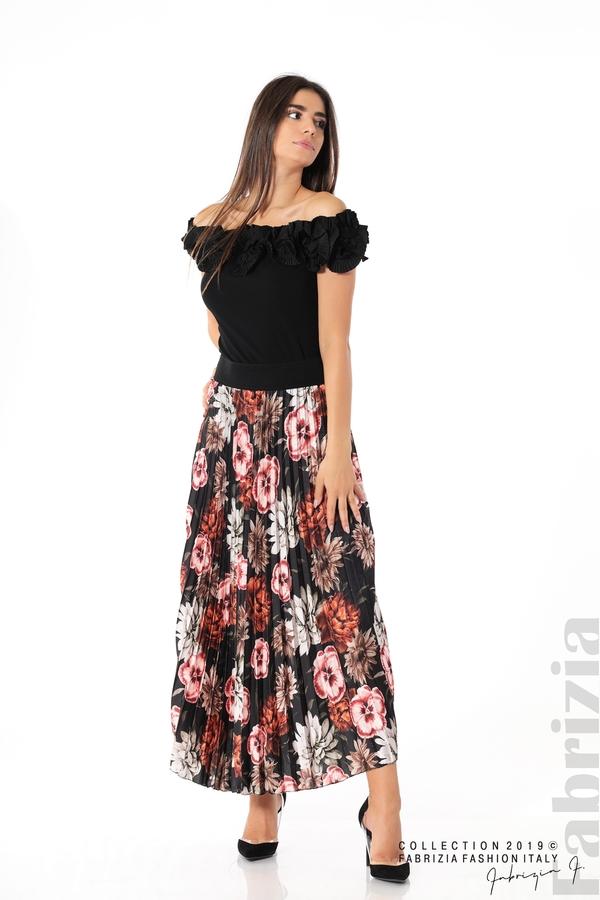 Дамска пола с десен на цветя черен 2 fabrizia