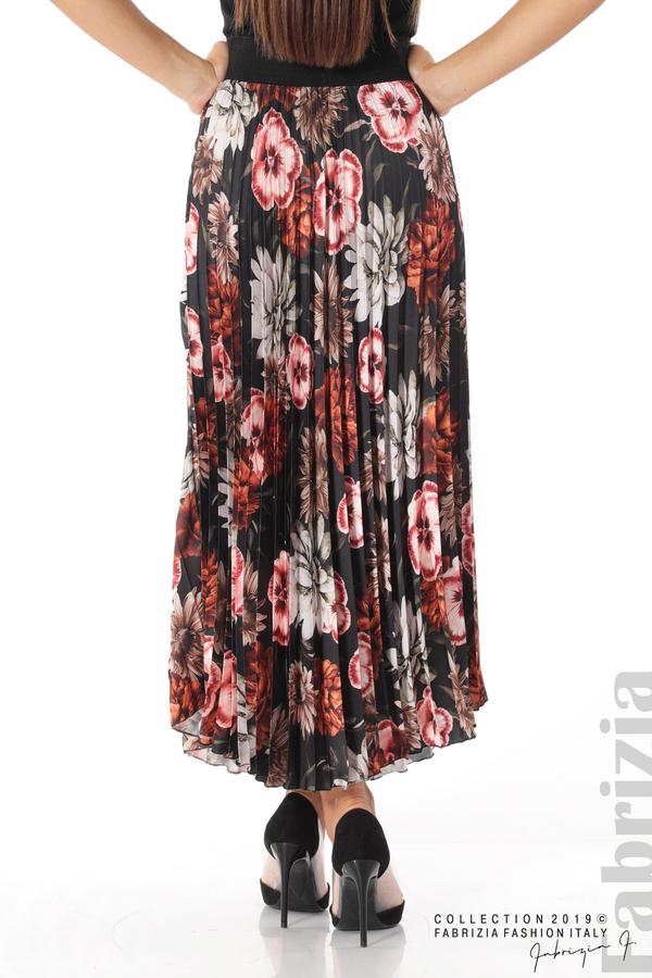 Дамска пола с десен на цветя черен 5 fabrizia
