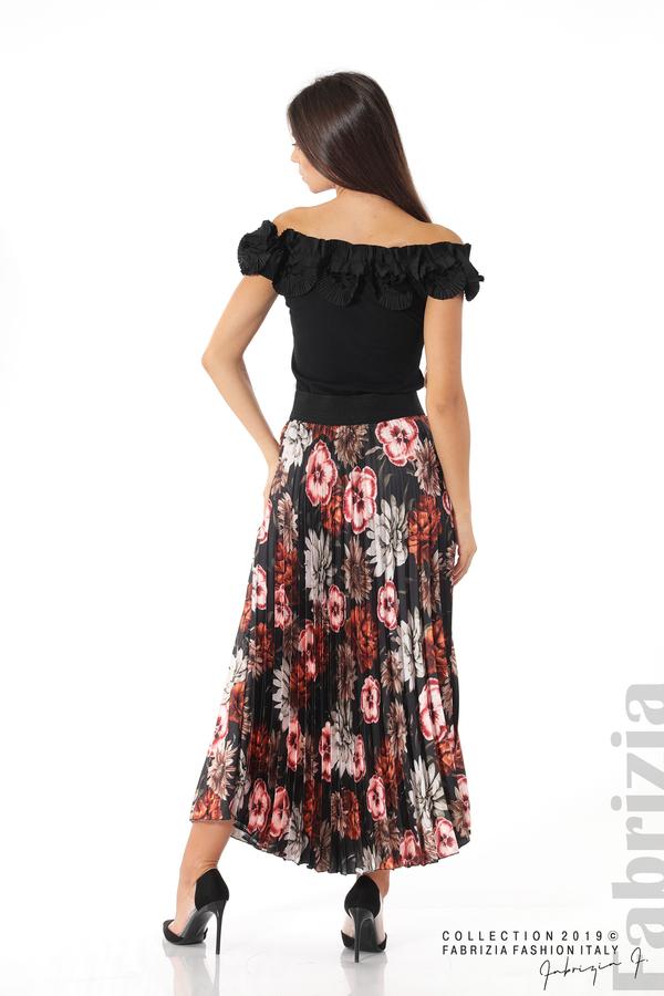 Дамска пола с десен на цветя черен 4 fabrizia