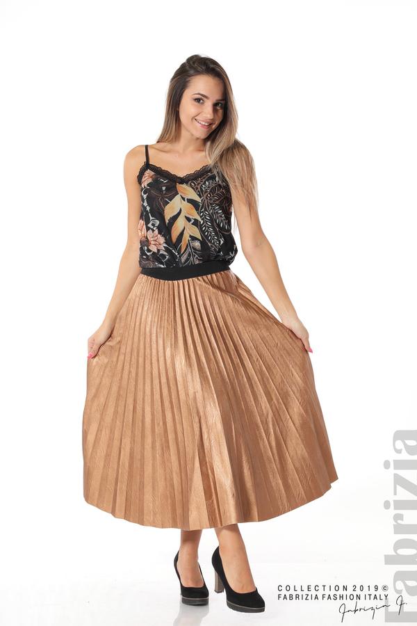 Плисирана пола дамска  бронз 3 fabrizia