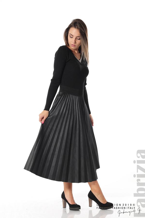 Плисирана дамска пола черен 2 fabrizia