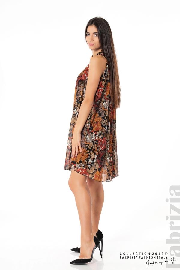Дамска плисирана рокля на цветя оранж 2 fabrizia