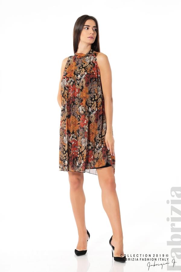 Дамска плисирана рокля на цветя оранж 3 fabrizia