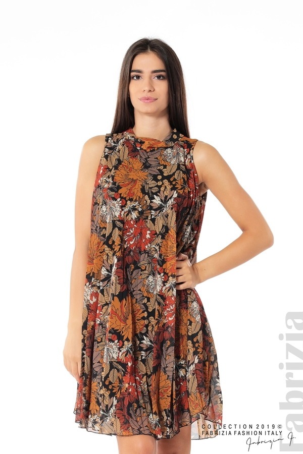 Дамска плисирана рокля на цветя оранж 1 fabrizia