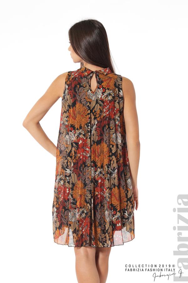 Дамска плисирана рокля на цветя оранж 5 fabrizia
