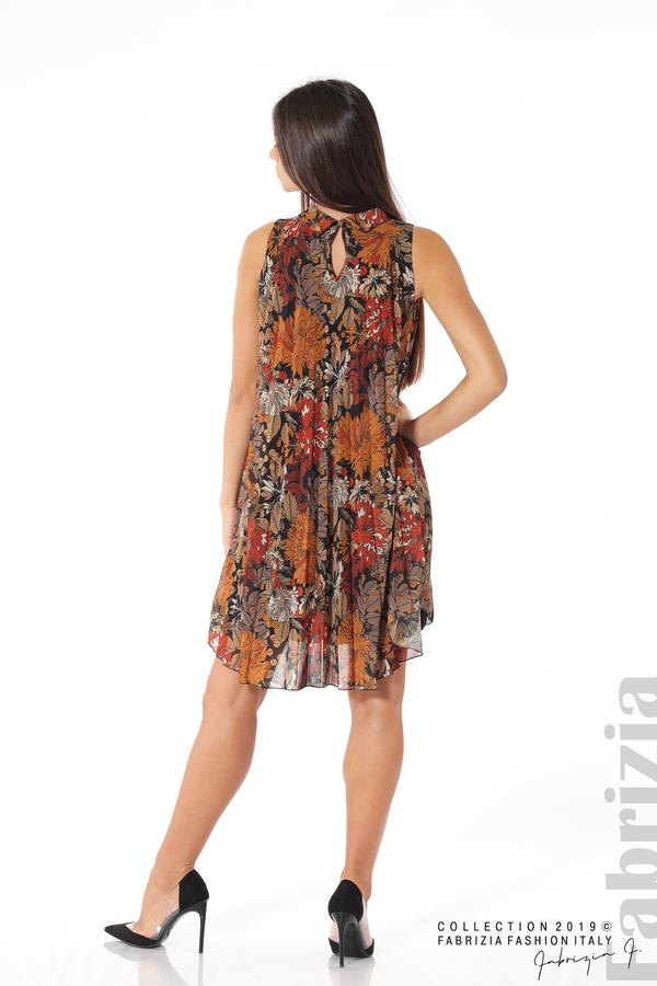 Дамска плисирана рокля на цветя оранж 4 fabrizia