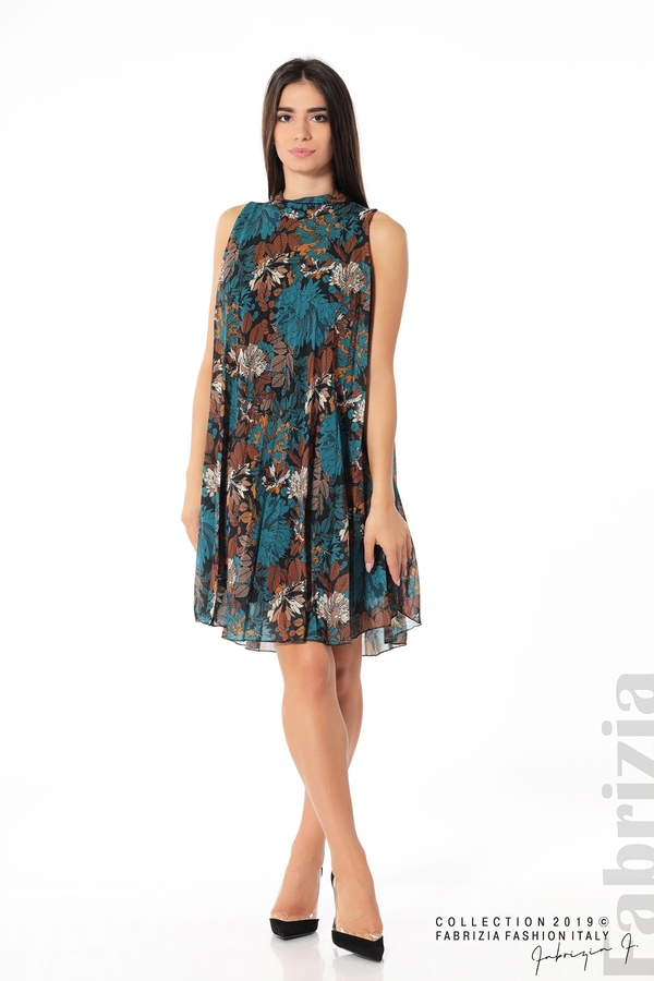 Дамска тюлена рокля на цветя отанио 2 fabrizia