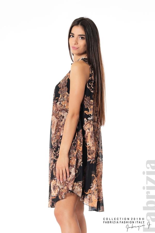 Дамска плисирана  рокля с орнаменти черен 1 fabrizia