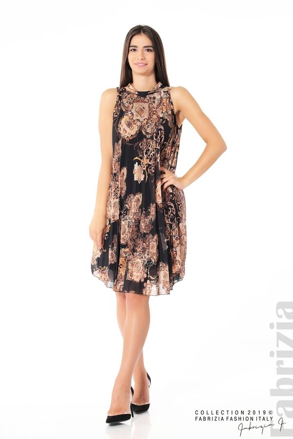 Дамска плисирана  рокля с орнаменти черен 2 fabrizia