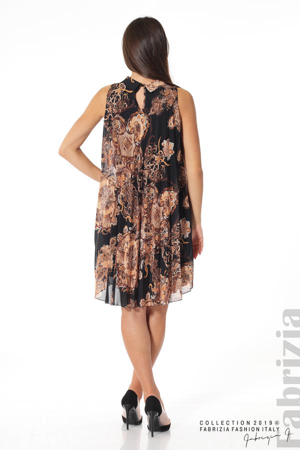 Дамска плисирана  рокля с орнаменти черен 3 fabrizia