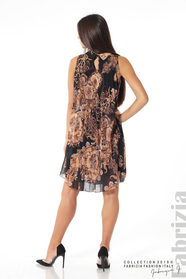 Дамска плисирана  рокля с орнаменти черен 4 fabrizia