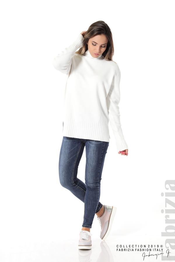 Блуза със свободен силует бял 1 fabrizia