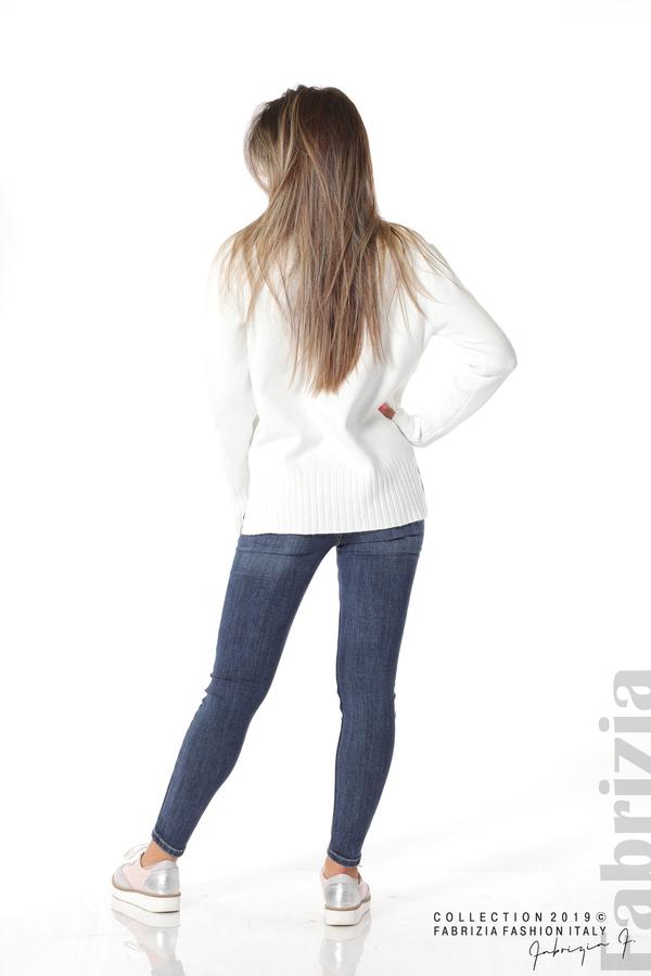 Блуза със свободен силует бял 4 fabrizia