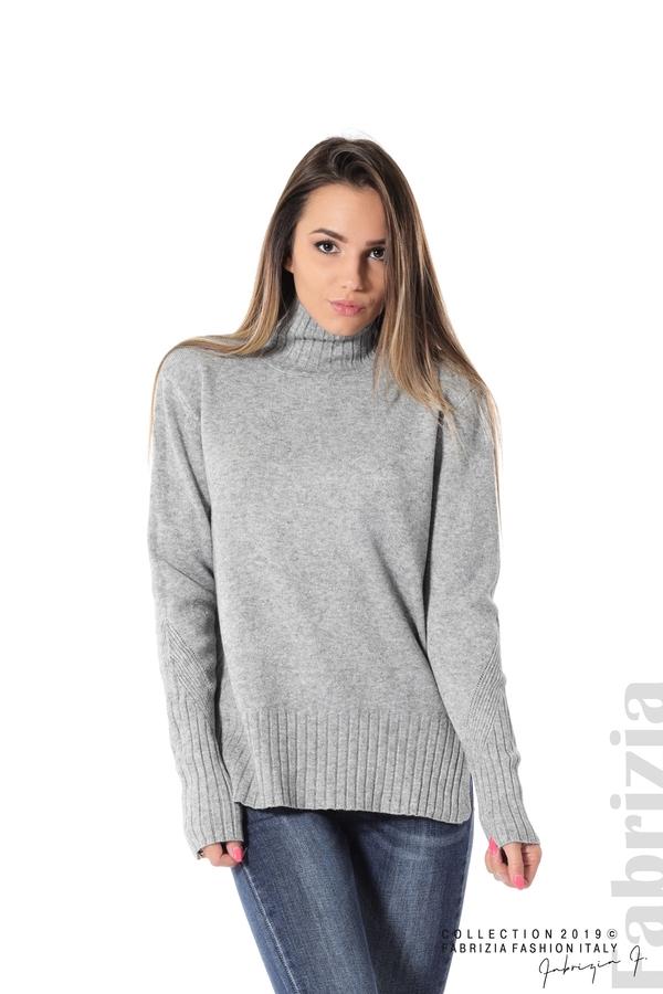Блуза със свободен силует сив 1 fabrizia