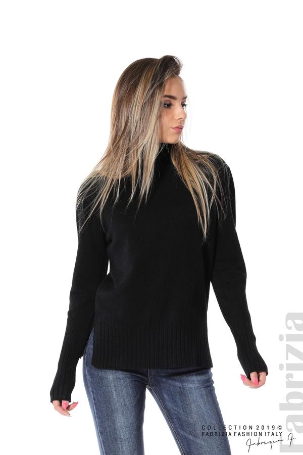 Блуза със свободен силует черен 1 fabrizia