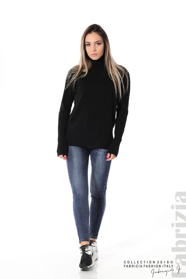 Блуза със свободен силует черен 2 fabrizia