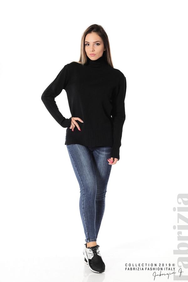 Блуза със свободен силует черен 3 fabrizia