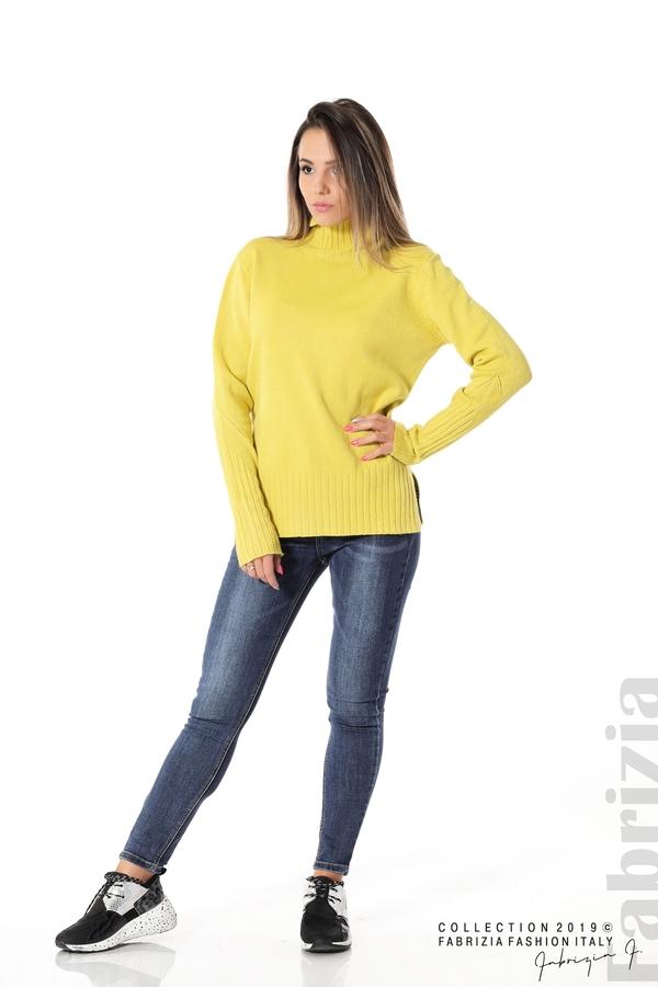 Блуза със свободен силует жълт 1 fabrizia