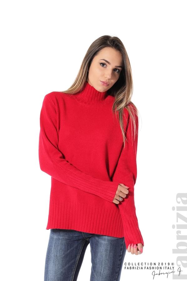 Блуза със свободен силует червен 1 fabrizia
