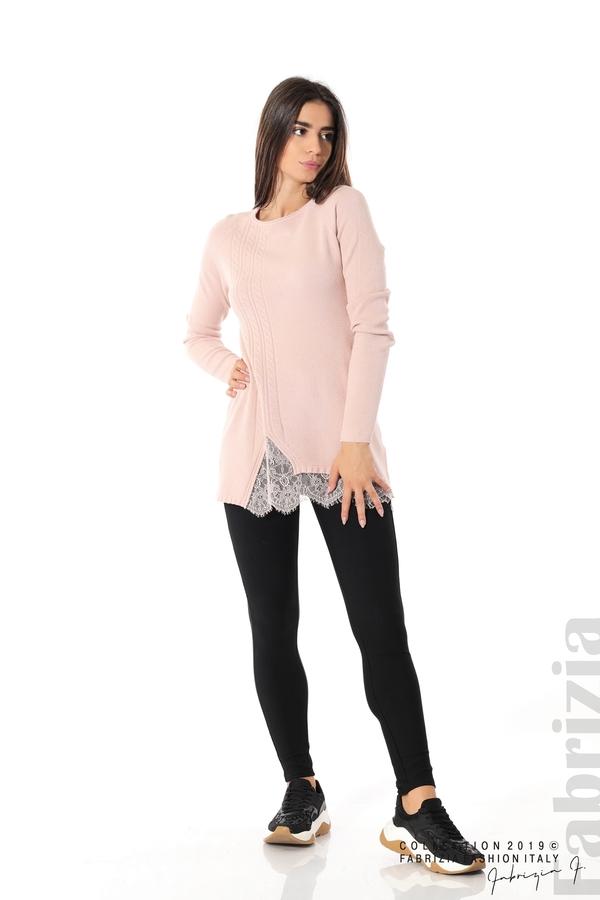 Дълга дамска блуза с дантела пудра 2 fabrizia