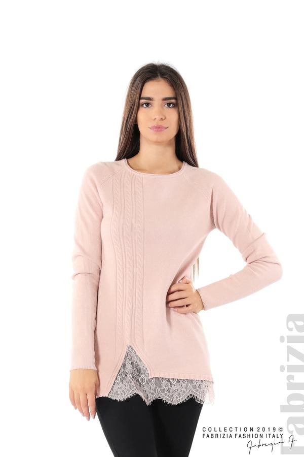 Дълга дамска блуза с дантела пудра 1 fabrizia