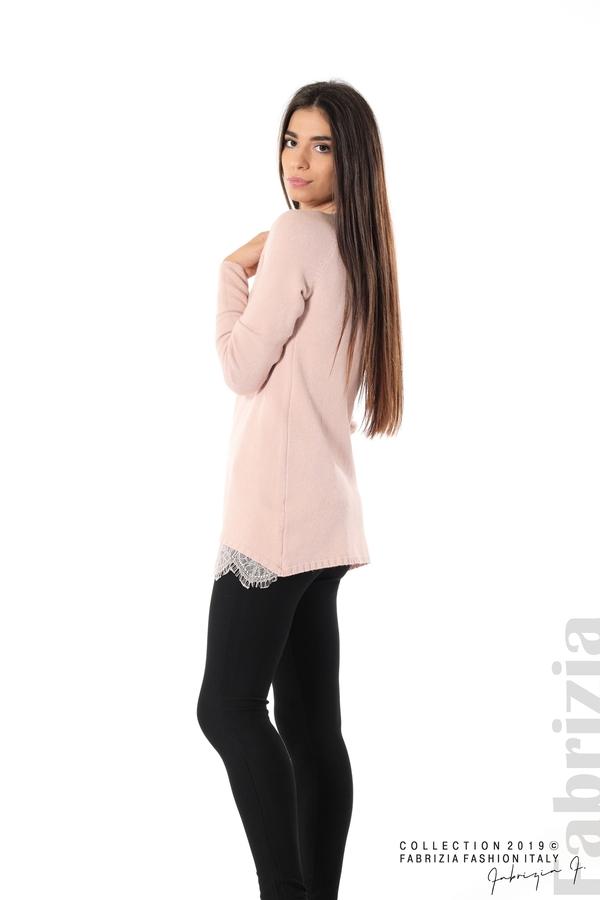 Дълга дамска блуза с дантела пудра 3 fabrizia