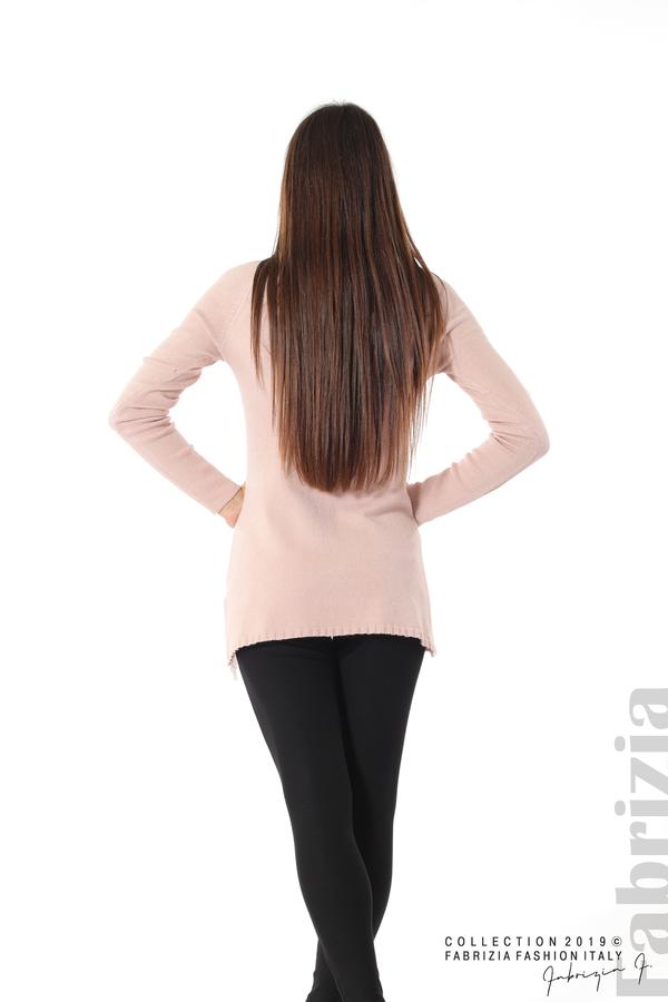 Дълга дамска блуза с дантела пудра 4 fabrizia