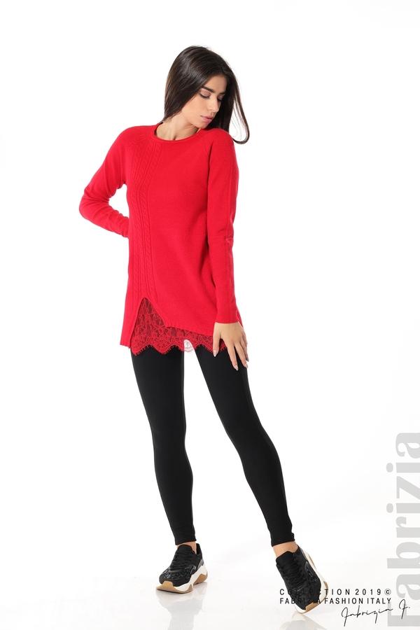Дълга дамска блуза с дантела червен 1 fabrizia