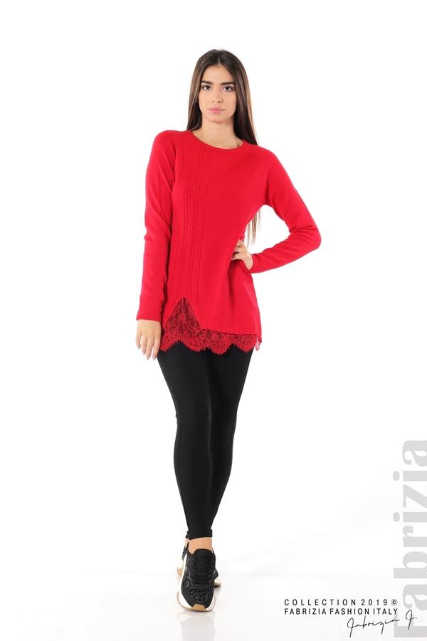 Дълга дамска блуза с дантела червен 3 fabrizia