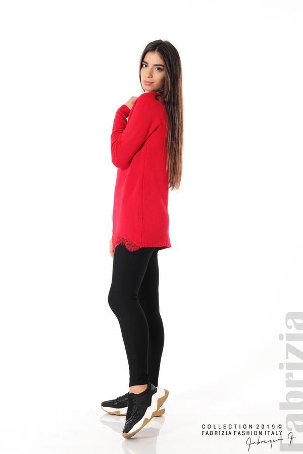 Дълга дамска блуза с дантела червен 2 fabrizia