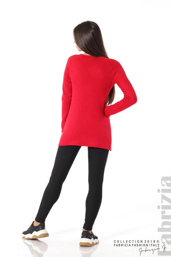 Дълга дамска блуза с дантела червен 4 fabrizia
