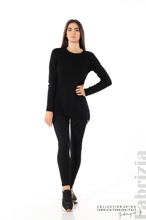 Дълга дамска блуза с дантела черен 2 fabrizia