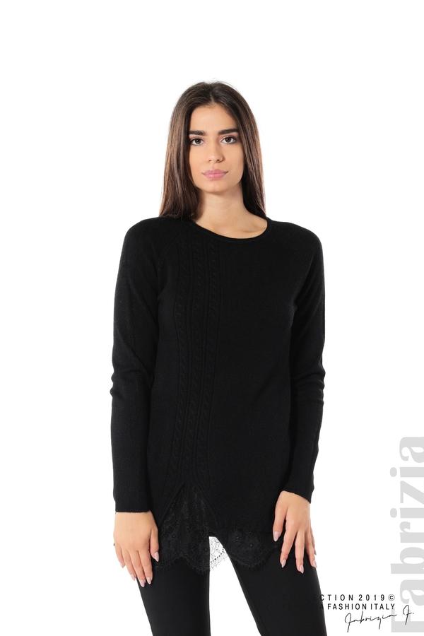 Дълга дамска блуза с дантела черен 1 fabrizia