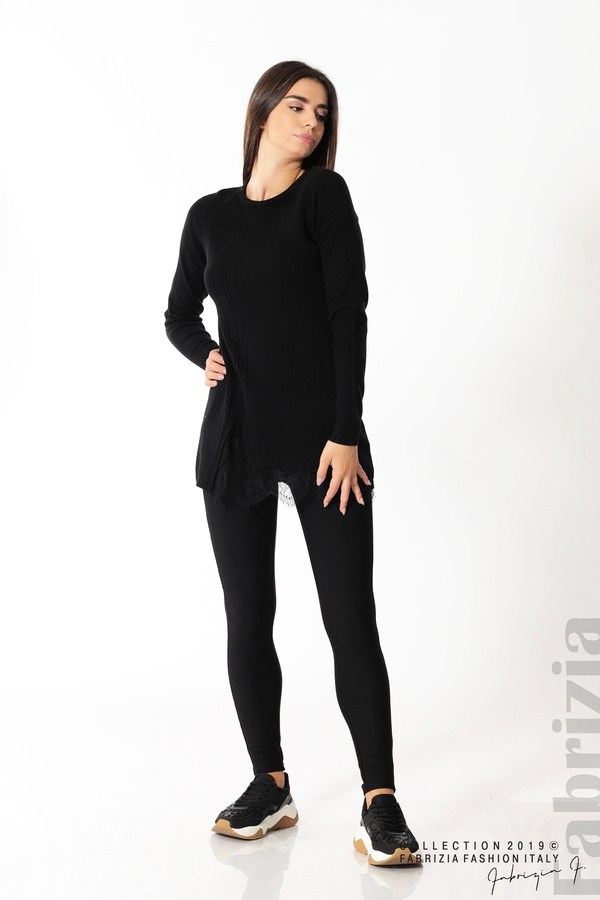 Дълга дамска блуза с дантела черен 3 fabrizia