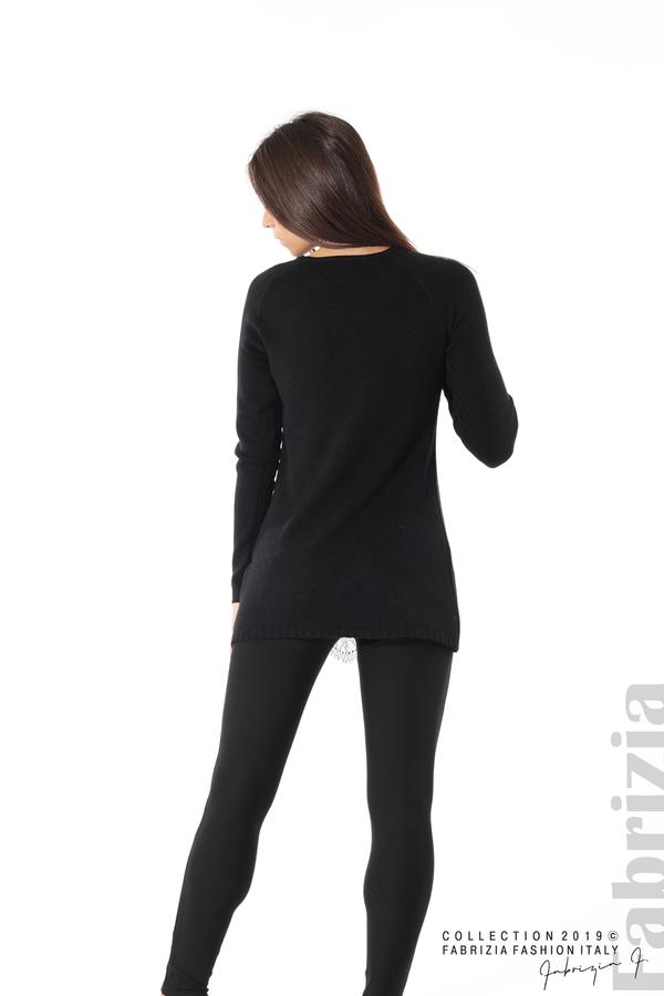 Дълга дамска блуза с дантела черен 4 fabrizia