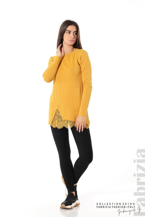 Дълга дамска блуза с дантела охра 2 fabrizia