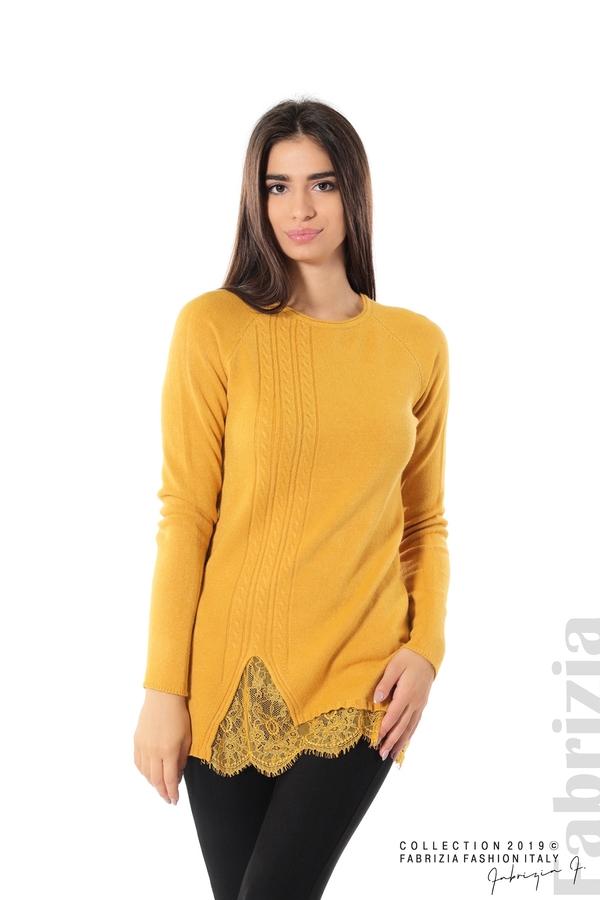 Дълга дамска блуза с дантела охра 1 fabrizia