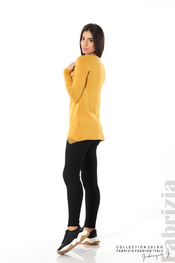 Дълга дамска блуза с дантела охра 4 fabrizia