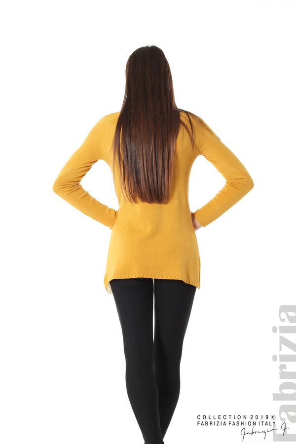 Дълга дамска блуза с дантела охра 5 fabrizia