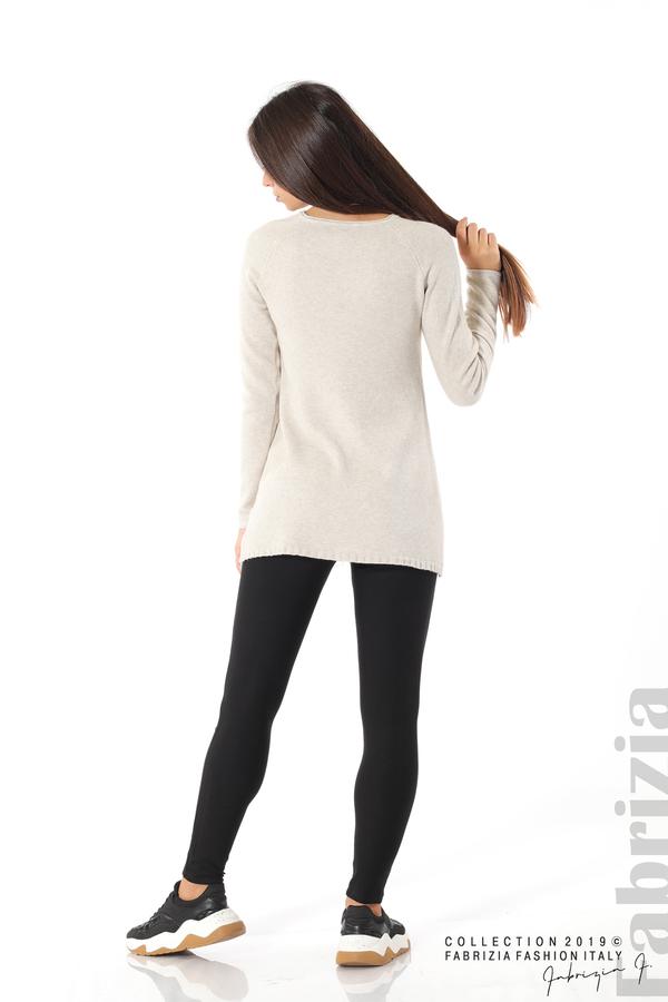 Дълга дамска блуза с дантела бежов 4 fabrizia