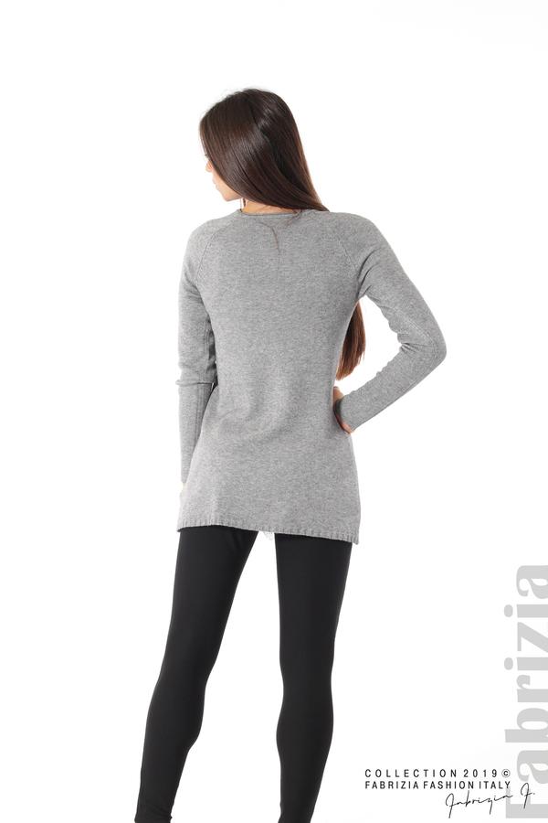 Дълга дамска блуза с дантела сив 4 fabrizia