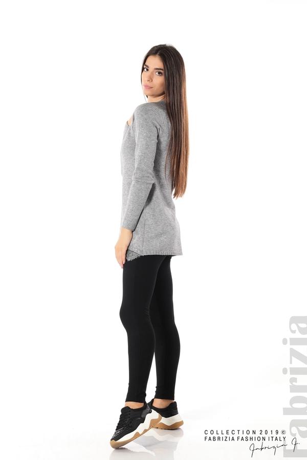 Дълга дамска блуза с дантела сив 3 fabrizia