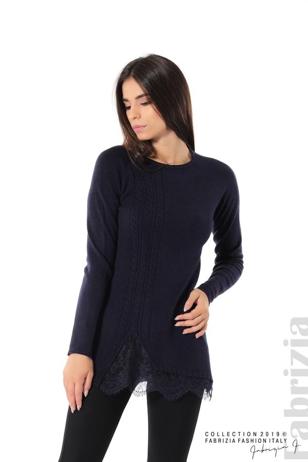 Дълга дамска блуза с дантела т.син 1 fabrizia