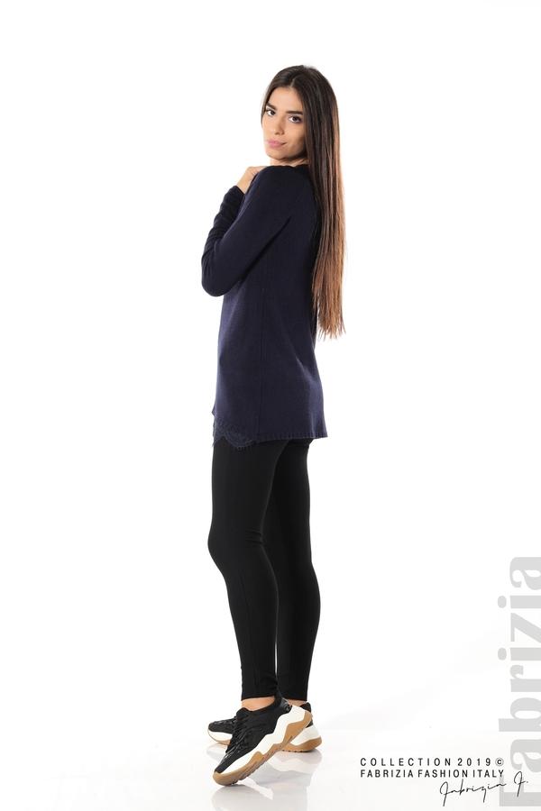 Дълга дамска блуза с дантела т.син 3 fabrizia