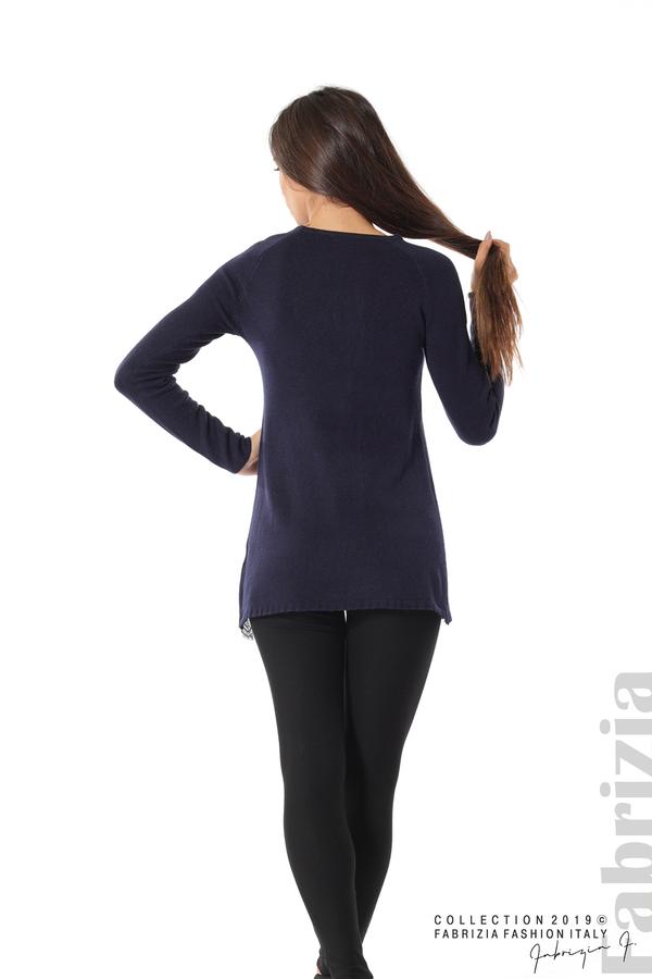 Дълга дамска блуза с дантела т.син 4 fabrizia