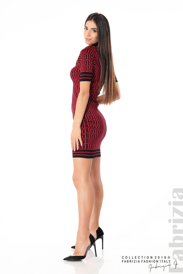 Къса фигурална дамска рокля черен/червен 2 fabrizia